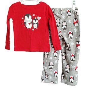 CAT & JACK Christmas Winter Penguin 2pc Pajamas 3T